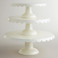 Ivory Scalloped Metal Pedestals - World Market