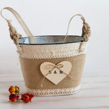 Rustic Flower Girl Basket Wedding Personalized Basket Rustic tin bucket Bridal basket Burlap flower girl basket Country flower girl basket