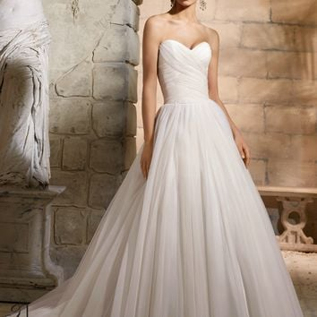 Blu by Mori Lee 5364 Strapless Tulle Wedding Dress