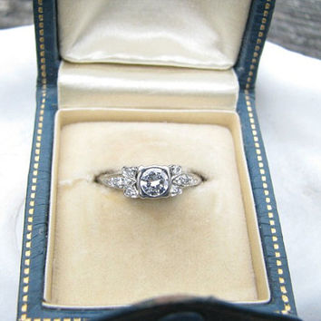 Art Deco Diamond Engagement Ring, Fiery European Cut Diamond, Fine Maker JR Wood, Delightful Deco Leather Presentation Box