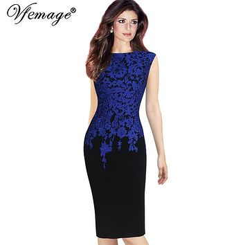 Vfemage Womens Elegant Vintage Floral Crochet Charming Pinup Casual Work Office Party Evening Sheath Bodycon Pencil Dress 2943