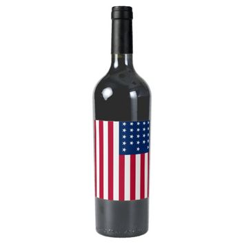 American Flag Patriotic Wine Bottle Label