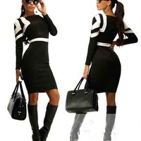 Color Block Long Sleeve Midi Dress in Khaki Blue or Black
