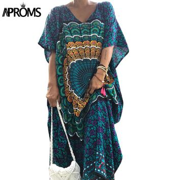 Aproms Traditional African Kaftan Dresses 2017 Women Summer Loose Ethnic Dashiki Dress Robe Sexy Bohemian Long Maxi Caftan Dress