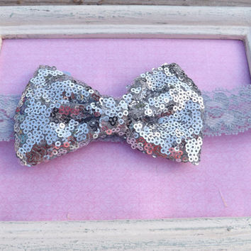 Silver Sequin Fabric Bow Lace Headband, Fabric Bow Headband For Girls, Head wraps, silver glitter baby headband,Sequin Bow Headband