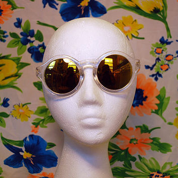 NEW - Round Mirror Sunglasses Clear Circle Hippie Glasses - Mallory