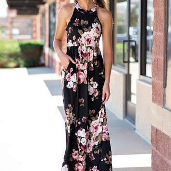 There is Nothing Better Floral Maxi-Halter: Black