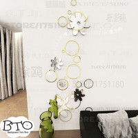 DIY creative fashion spring nature circle flower backdrops 3D mirror wall stickers home decor R016