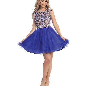 Royal Blue & Nude Embellished Open Back Short Dress 2015 Homecoming Dresses