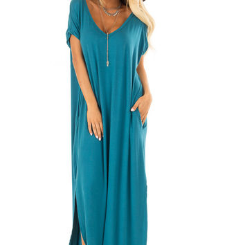 Teal Loose Fit Maxi Dress with Side Slit