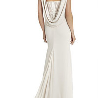 White BCBG Juliet Cowl-Back Exposed Corset Gown