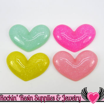 6 pc PUFFY HEARTS Resin Decoden Flatback Kawaii Cabochons 36x26mm