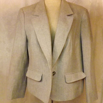 80s Vintage Womens Pendleton Gray Wool Sport Coat Jacket Size 16