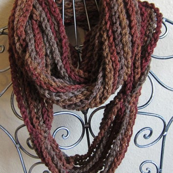 Crochet Cowl/Hooded Scarf/Necklace Scarf made with Chains in Red Heart Boutique Midnight Yarn in Harvest Moon