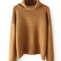 Camel Long Sleeved Sweater