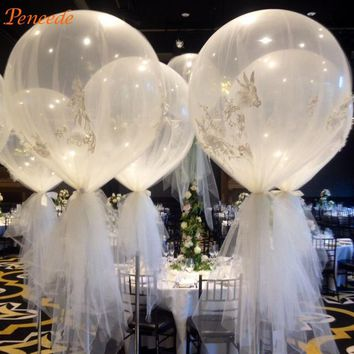 10pcs 36'' Jumbo Large Round Latex Balloons Transparent Clear Giant Wedding Balloons (Size: 16inch, Color: Transparent)