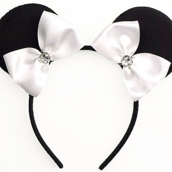 Minnie Mouse Ears Mouse Ears Bow Halloween Costume White Mickey Ears Headband White Minnie Ears White Minnie Mouse Bow Minnie Mouse Outfit