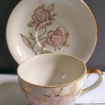 Japanese Pink Rose and Gold Porcelain China Tea Cups and Saucers/ Pink and Gold Tea Cups and Saucers/ Sterling China Japan Tea Cups