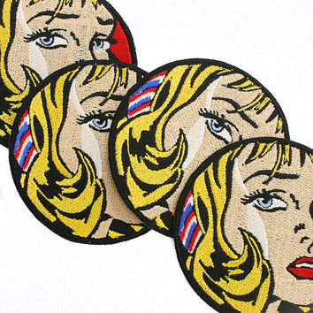 "Roy Lichtenstein Pop Art 3"" Embroidered Patch- Girl with Hair Ribbon, Free Shipping on all order over 30 dollars with code ""free30"""