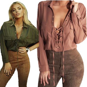 Women's Summer Long Sleeve V-neck Top Casual Blouse Ladies Lace-up Loose T-Shirt