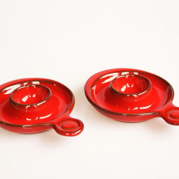 Red pottery candle holders, vintage stoneware candlesticks, cottage home decor, earthenware decoration, red stoneware egg cups, red kitche
