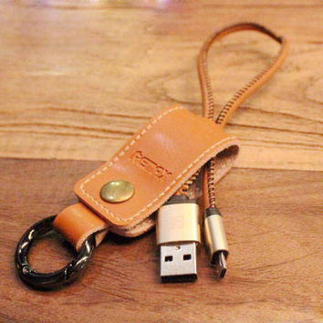 Leather Lightning Cable Key Ring for iPhone 6s 6 plus Android + Gift Box 01