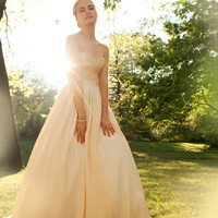 "Strapless Corseted Wedding Gown, ""Collette-Rose"", ball gown, Blush Silks, Modern Princess, Mix and Match Customizable"