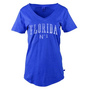 Official NCAA University of Florida Gators The Orange and Blue GATOR NATION! Women's Slouch Pocket V-Neck T-Shirt