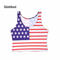 Qickitout Tanks 2016 New Fashion American Flag Banner Top Women's Camis Digtal Print Casual Vest New Tank Top sleeveless Vest