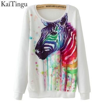 Long Sleeve Flannel Tracksuit Hoodie Zebra Watercolor Print Casual Pullover Sweatshirt