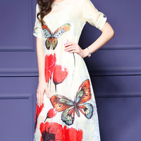 White Butterfly Print Split Shift Dress