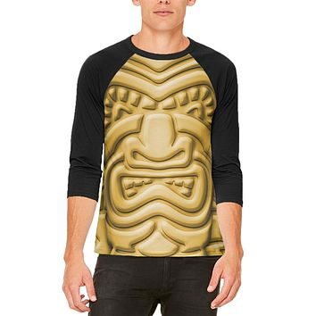 Tiki God Gold Face Luau Mens Raglan T Shirt