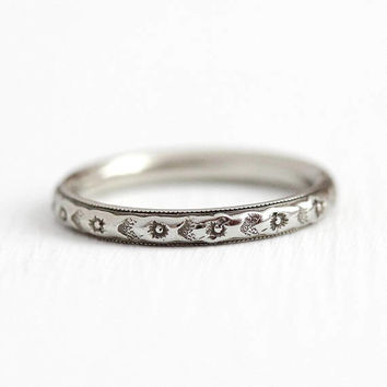 Flower Wedding Band - Antique Art Deco 18k White Gold Orange Blossom Ring - Vintage 1920s Size 6 3/4 Eternity Fine Bridal Stacking Jewelry