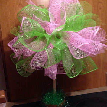 Topiary, Easter topiary, deco mesh topiary, Easter decor, Easter centerpiece, fireplace decor