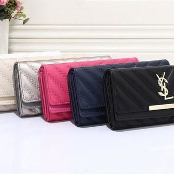 DCCK Yves Saint Laurent YSL' Women Casual Fashion V Line Long Section Purse Three Fold Wallet Handbag