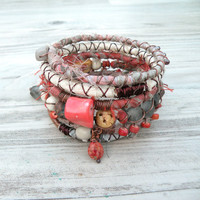 Silk Road Gypsy Bangle Stack - Cairo - 6 Bohemian Tribal Bracelets,  Silk Wrapped and Beaded
