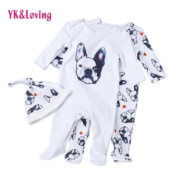 Baby Overalls Long Sleeve Rompers Clothing Cotton Dog Anima 2017 New Autumn/Winter Newborn Girl Boy Jumpsuit hat indoor Clothes