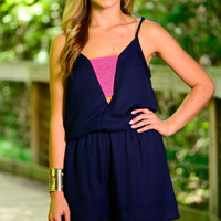 Just For Fun Romper, Navy