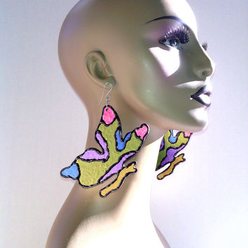 Fabulous Art Piece Hand Painted Multi Color Wooden Butterfly Earrings, Large Earrings, Dangling Earrings, Womens Earrings, Big Earrings