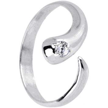 Sterling Silver 925 Cubic Zirconia Solitaire Flare Toe Ring - Size 5