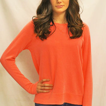 Neon Coral Zippered Sweatshirt