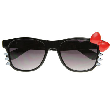 Cute Womens Hello Kitty Style Sunglasses w/ Bow Whiskers 8500