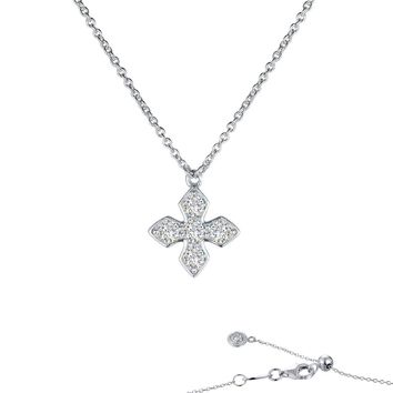 Lafonn Classic Sterling Silver Platinum Plated Simulated Diamond Necklace (0.5 CTTW)