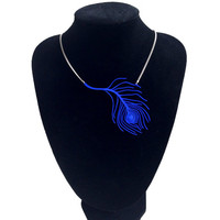 custom made 3D printed peacock feather necklace on sterling silver chain