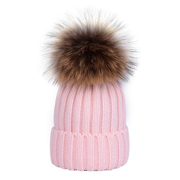 Thick Warm Adult Natural Raccoon Fur Ball Winter Hat Women Knitted Pom Pom Cap Beanies Caps Bonnet Homme