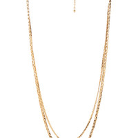 FOREVER 21 Longline Layered Chain Necklace Gold One