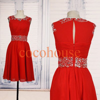 Red Beaded Prom Dresses Knee Length Bridesmaid Dresses Hot Party Dresses Homecoming Dresses Evening Dress Wedding Party Dresses Formal Wear