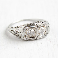 Antique 18k White Gold Art Deco 1/2 CTW Double Diamond Ring- Vintage Filigree 1920s 1930s Engagement Wedding Fine Jewelry
