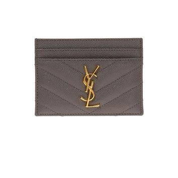 Saint Laurent YSL Women's Gray Leather Credit Card Case 423291