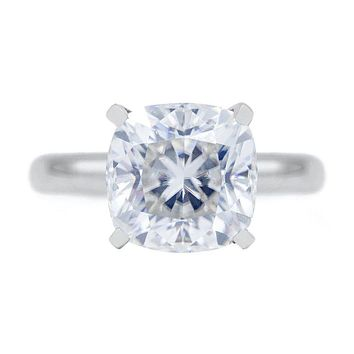 Cushion Moissanite 4 Prongs FANCY Solitaire Ring in 2019